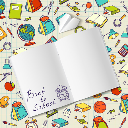 Back to school text in a notebook end school vector doodle concept
