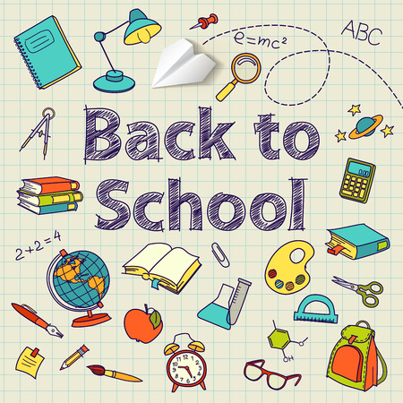 note paper background: Back to school text end school vector doodle concept Illustration