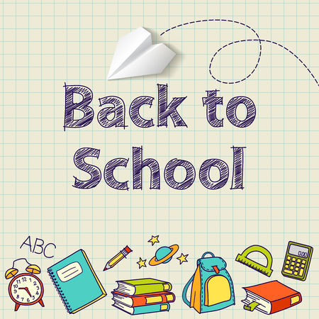 back to school: Back to school text end school vector doodle concept Illustration