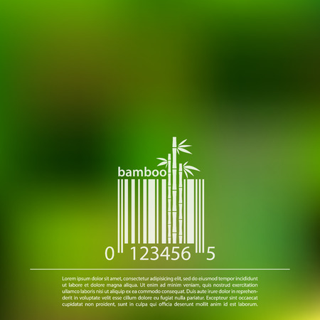 Bamboo on a blurred background vector design  barcode symbol Illustration