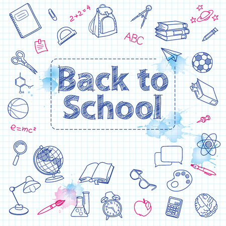 education icons: School doodle on the checkered page with watercolor blots with space for text vector