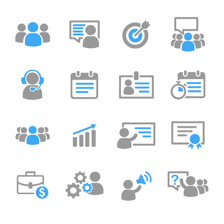 Business training education icons vector set
