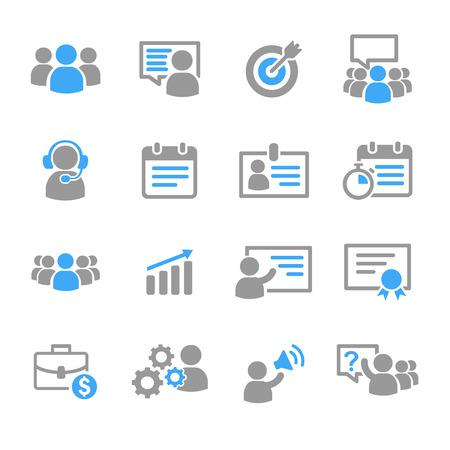 Business training onderwijs iconen vector set