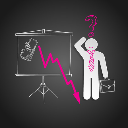 meltdown: Economic crisis.  Confused business man shows falling money graph Illustration