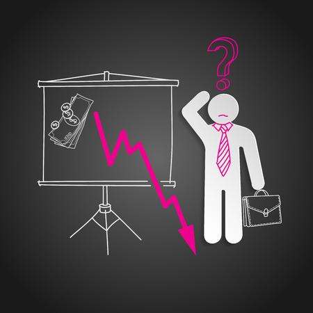 falling money: Economic crisis.  Confused business man shows falling money graph Illustration