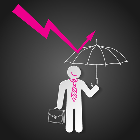 graph down: Businessman holding umbrella protect graph down. Economic crisis