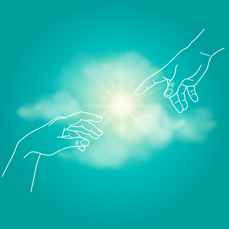 Close up of human hands touching with fingers. Adam and God hands, touch, hope, help, vector illustration Illustration