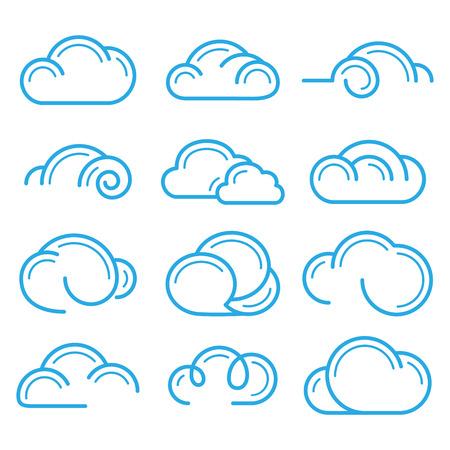 Cloud logo symbol sign icon set vector design elements