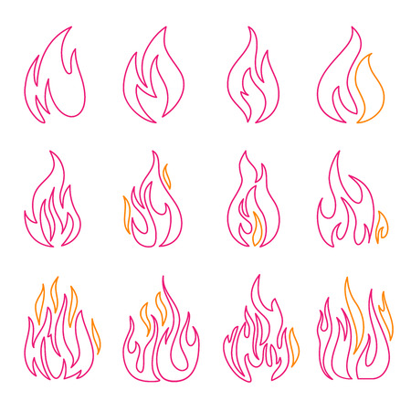 Red fire flat icons and signs set isolated on white background for danger concept or logo design Illustration