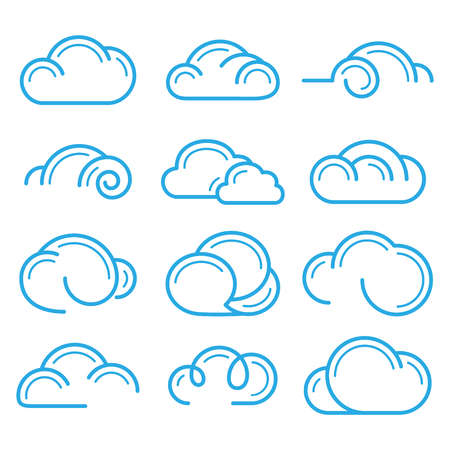 Cloud logo symbol sign icon set vector design elements icon Иллюстрация