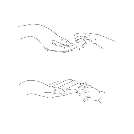Une main de bébé atteignant jusqu'à l'illustration de vecteur de main de mères
