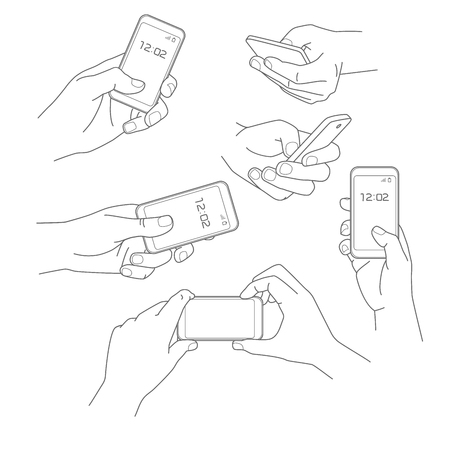 Hand holding smartphone vector illustrations collection Vetores