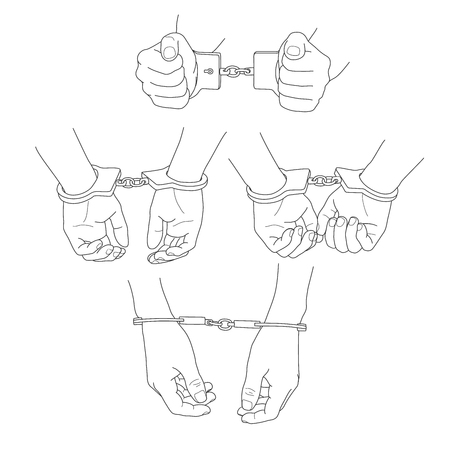 Man hands with handcuffs vector illustration set Illustration