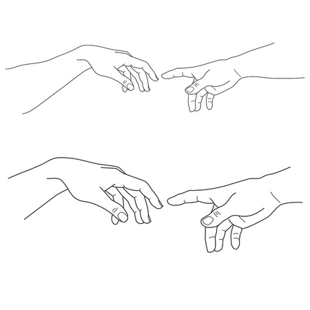 Adam and God hands, touch, hope and help, assistance and support religion, vector illustration 向量圖像