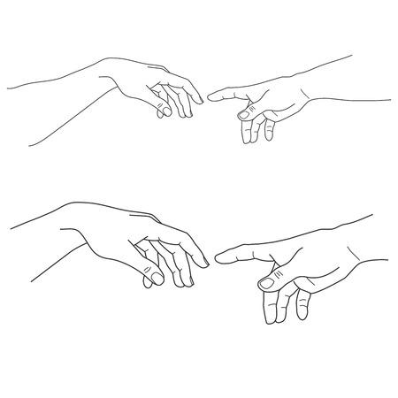 Manos de Adán y Dios, toque, esperanza y ayuda, asistencia y apoyo a la religión, ilustración vectorial