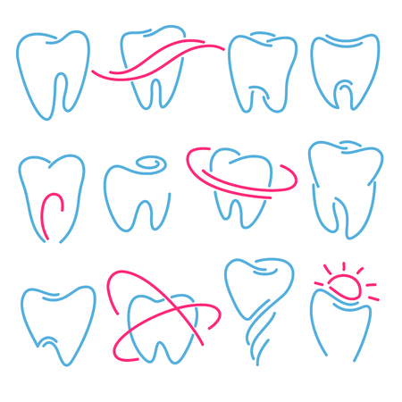 Set of teeth, tooth icons on white background. Can be used as logo for dental, dentist or stomatology clinic, teeth care and health concept