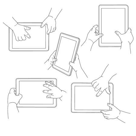 Childs hands holding a tablet, vector illustration set