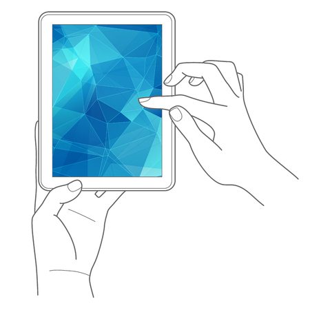 Hands holding digital tablet computer with abstract background Vector illustration