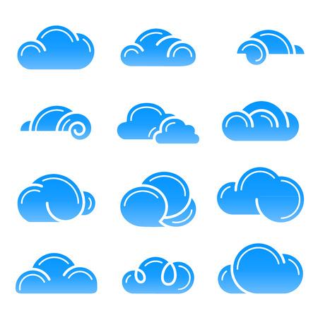 Cloud logo symbol sign icon set vector design elements icon Фото со стока