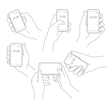 Hand with phone illustration vector set