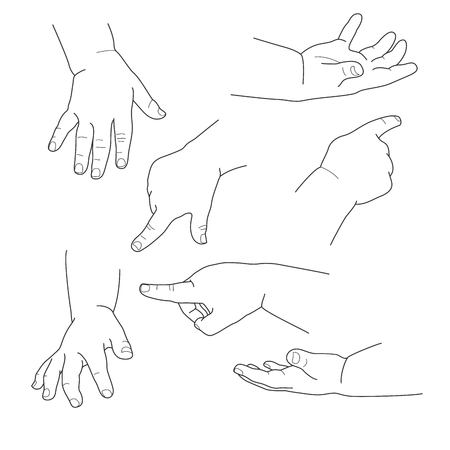 Baby hand, different gestures, vector illustration set