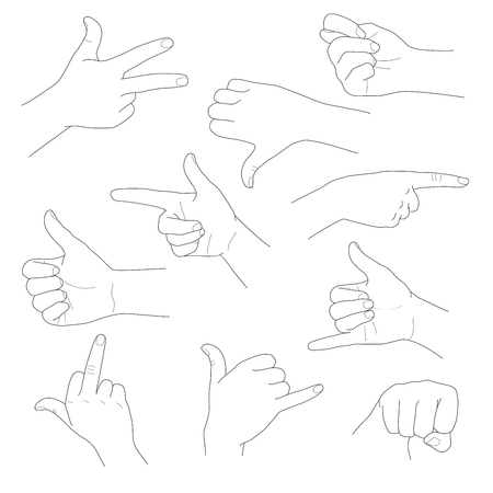 Hands in different gestures and interpretations vector illustration set