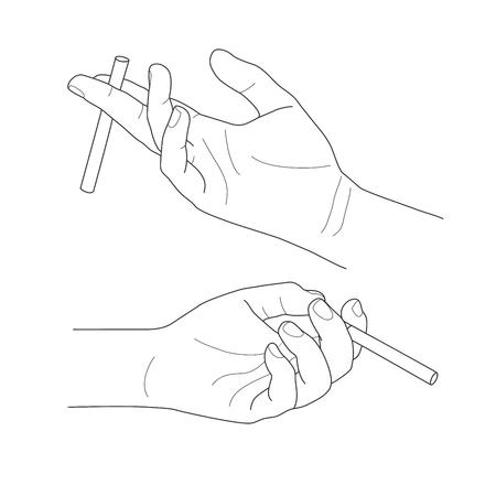 Hand holding a cigarette, vector illustration set