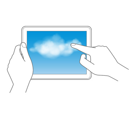 Cloud computing and touch pad concept hand holding tablet and touch the cloud