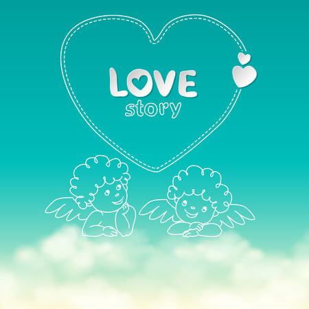 Illustration of hand drawn love story quote width cupid on sunny sky with clouds background vector
