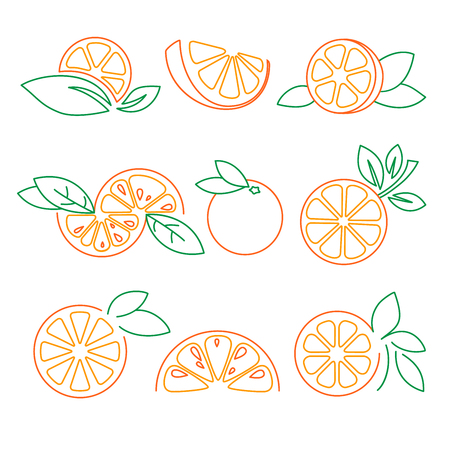 Orange, citrus, logo symbol elements set vector