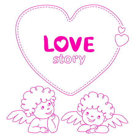 Hand drawn love story quote dashed line boxes width cupid Doodle style blank, template