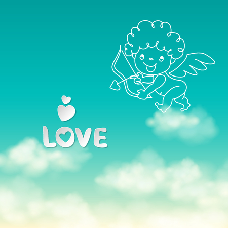 Shooting from bow Cupid and the word Love on the sunny sky background hand drawn vector illustration