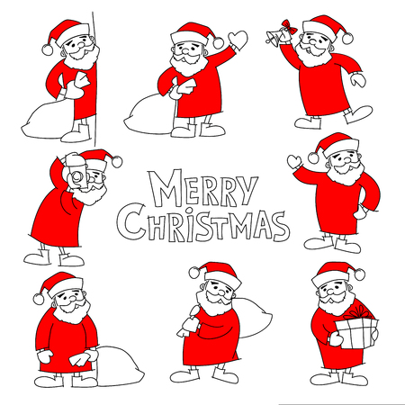Big set of hand drawing santa clauses and text merry christmas, doodles, vector 版權商用圖片