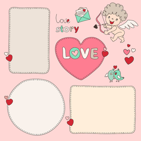 Bubble form Heart and cupid. Set of hand drawn dashed line boxes. Doodle style. Quote, blank, template.