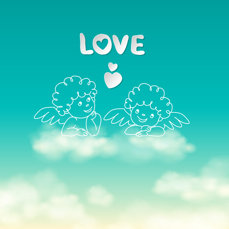 Two angels on a cloud love word and heart on the sunny sky background vector illustration 版權商用圖片