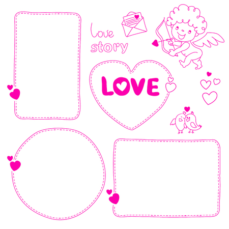 Set of hand drawn love story quote dashed line boxes Doodle style blank, template Stok Fotoğraf