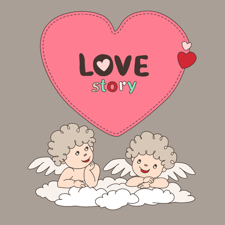 Two cupid on a cloud and bubble form heart. Doodle style. Quote, blank, template.