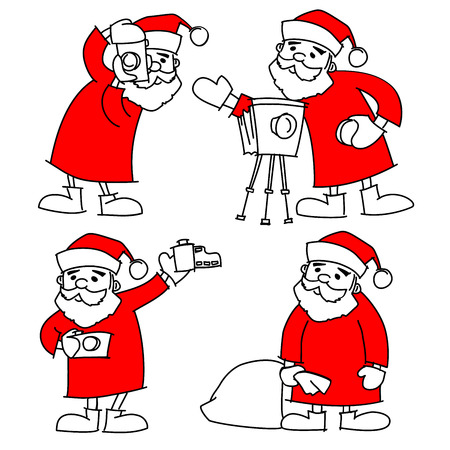santa claus photographer with camera vector christmas illustration set of doodles