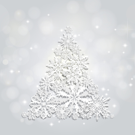 Christmas and New Years silver background with Christmas Tree made of cutout paper snowflakes