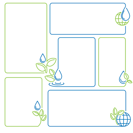 water, drop, sprout, ecology set of banner frames vector