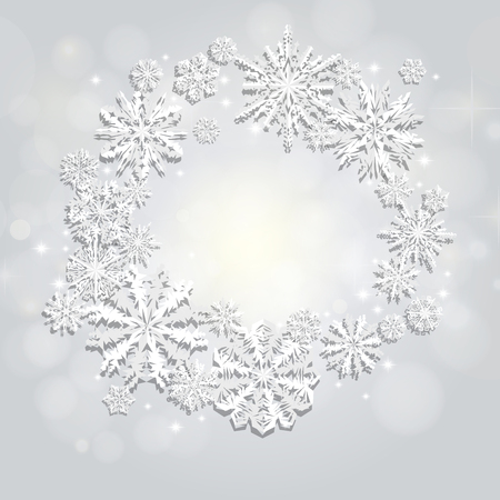 Christmas and New Years silver background with Frame Made of paper snowflakes