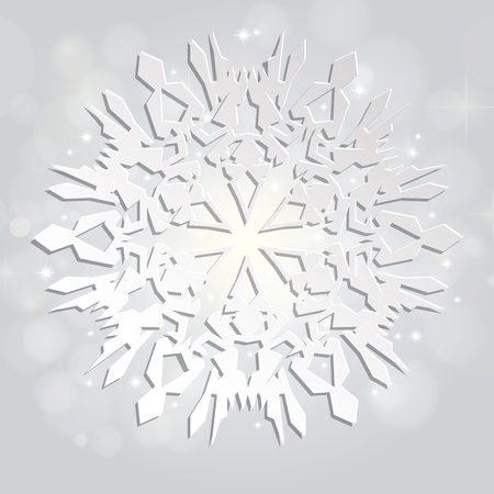 Christmas and New Years silver background with white paper snowflake 版權商用圖片