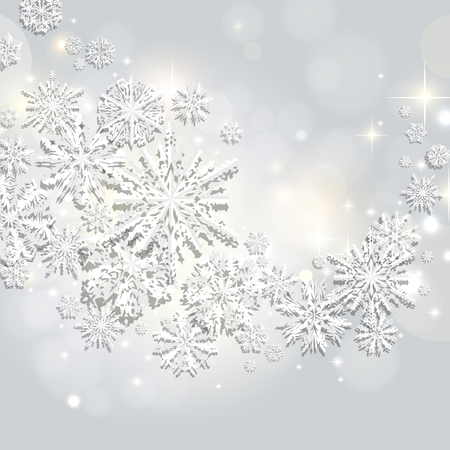 Abstract swirl of paper snowflakes on a silver, bokeh, shine background