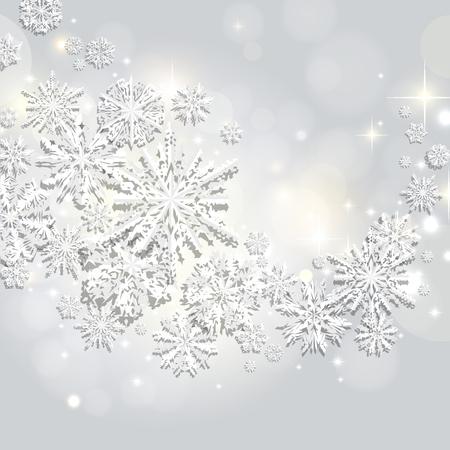 Remolino abstracto de copos de nieve de papel sobre un fondo plateado, bokeh, brillo