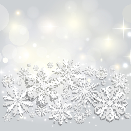 Christmas and New Years silver abstract background with paper snowflakes