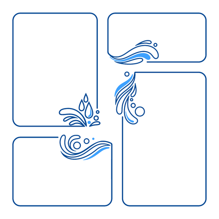 water, drop, splash, wave set of banner frames vector