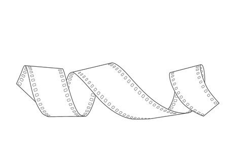 hand-drawn 35mm negative film spiral, vector