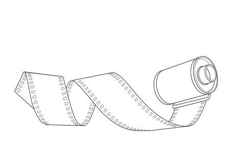 hand-drawn 35mm negative film roll spiral, vector Иллюстрация