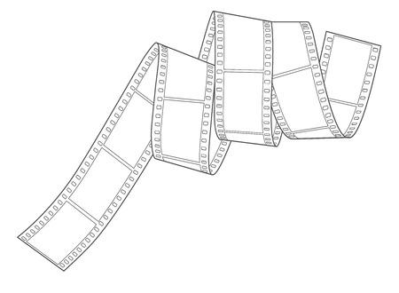Hand-drawn 35mm analog negative film spiral, vector. Empty frame