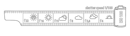 Sunny 16 rule, film analog photography, vector illustration file